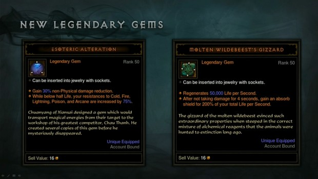Patch 2.1.2 Legendary Gems