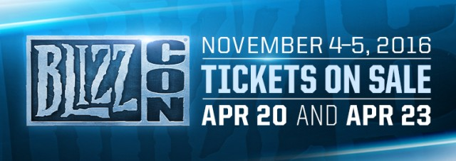 BlizzCon 2016 Ticket Sale April 20 and 23