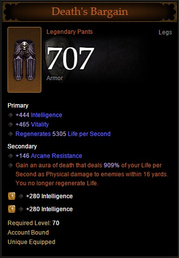 Diablo III - Death's Bargain Legendary Pants