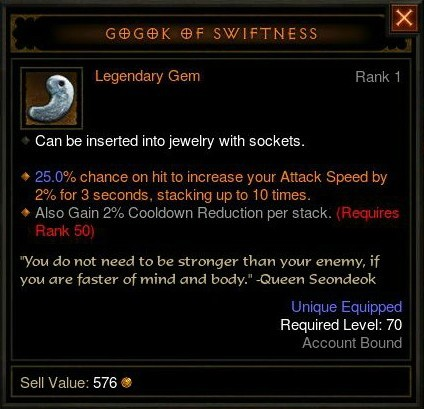 Diablo III Legendary Gem - Gogok of Swiftness
