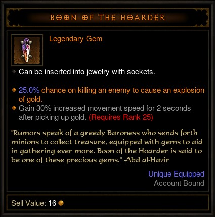 Diablo III Legendary Gem - Boon of the Hoarder