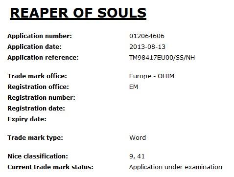 'Reaper of Souls' Trademark Application