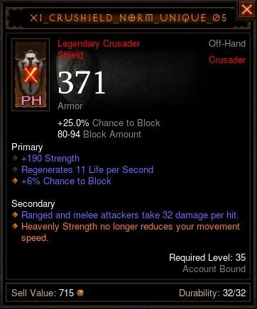 Reaper of Souls Beta: Placeholder Crusader Shield