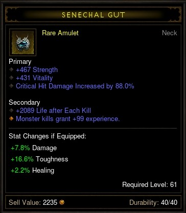 Reaper of Souls Beta: Level 61 Rare Amulet