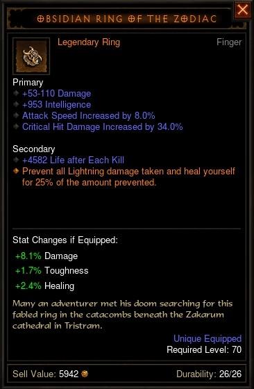 Reaper of Souls Beta: Obsidian Ring of the Zodiac
