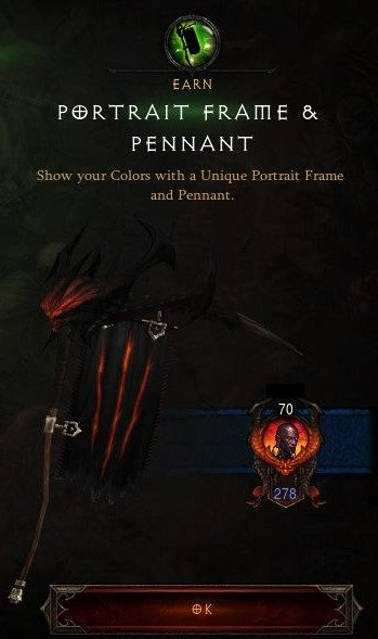 Diablo III Season 3 Portrait Frame and Pennant