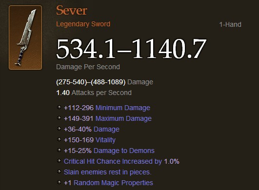 Legendary Sword - Sever