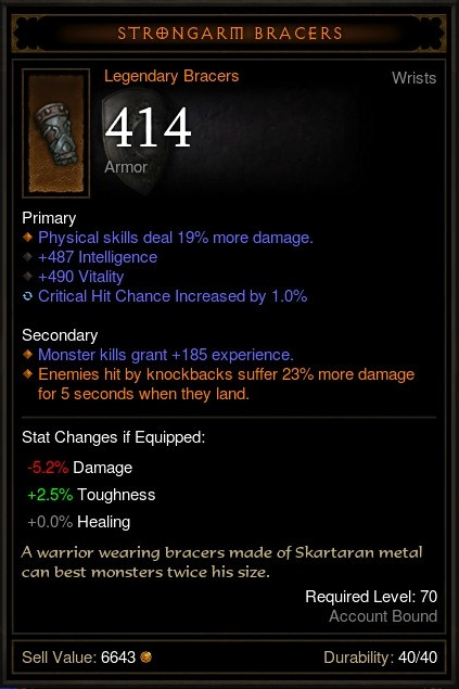 Strongarm Bracers - Crit Bug
